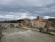 Bad weather over Tiber island , Rome Stock Photography