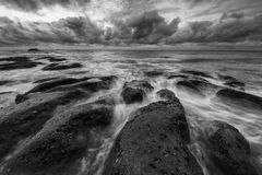 Bad weather on the sea monocrome Stock Image