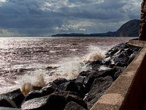 Bad weather sea - Sidmouth, Devon at dusk Stock Image