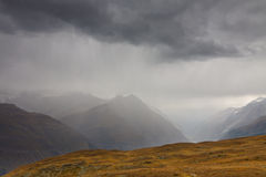 Bad weather in the Swiss Alps Stock Image