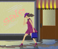In bad weather, there is no desire to buy. vector illustration
