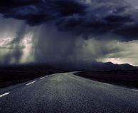 Bad weather. Traveling in bad weather on road stock photography