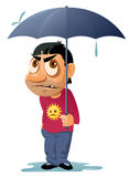 Bad weather. Unhappy man with umbrella in the rain. Cartoon styled vector illustration. Elements is grouped. Isolated on white. No transparent objects Stock Image
