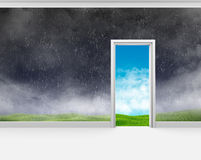 Bad weather on the wall of room and a good outside Stock Photos