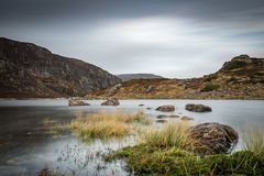 Bad weather water long exposure countryside. Bad weather water long exposure landscape Stock Photos