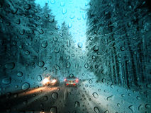 Bad weather. On a winter road royalty free stock photos