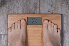Bad weight - display shows bad smiley. royalty free stock photo