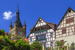 Bad Wimpfen, Germany. A medieval fortress tower and half-timbered buildings in Ladenburg, Germany Stock Photography