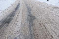 Bad Winter Road. Winter Driving - Caution Risk of Snow and Ice. Winter Driving - Caution Risk of Snow and Ice Stock Image
