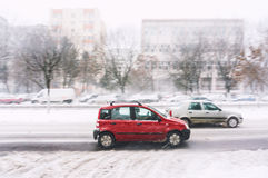Bad winter weather driving stock photo
