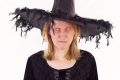 Bad witch with evil eyes Stock Images