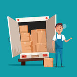 Bad worker. Cartoon vector illustration. Relocation. Moving service Royalty Free Stock Images