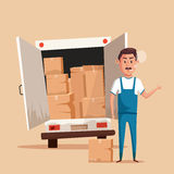 Bad worker. Cartoon vector illustration. Relocation. Moving service. Bad worker in uniform. Cartoon vector illustration. Relocation. Move. Character design Stock Images