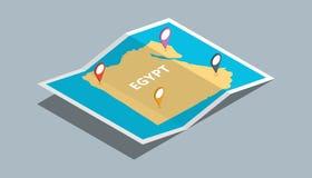 Bada Egypt mapy z isometric stylem i przyczepia lokaci etykietkę na wierzchołku Zdjęcie Royalty Free