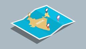Bada ind mapy z isometric stylem i przyczepia lokaci etykietkę na wierzchołku Obraz Royalty Free