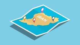 Bada Iran mapy z isometric stylem i przyczepia lokaci etykietkę na wierzchołku Zdjęcie Royalty Free