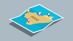 Bada Iraq mapy z isometric stylem i przyczepia lokaci etykietkę na wierzchołku Fotografia Royalty Free