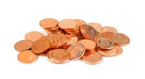 Bada thailändska guld- mynt på vit bakgrund, guld- mynt, liten mo Royaltyfria Bilder