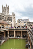 Badabbotskloster och Roman Baths Bad Somerset, England Arkivfoton