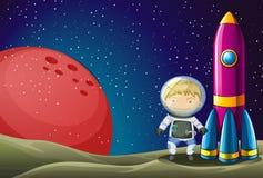 Badacz obok rakiety w outerspace ilustracji