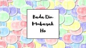 Badadin Mubarak Ho Christmas kaart met de snuisterij van de Regenboogpastelkleur als achtergrond, inzoomen stock videobeelden