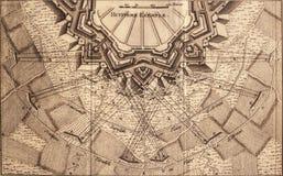 Badajoz bastionplan, door Sebastien Le Prestre de Vauban wordt ontworpen dat Stock Fotografie