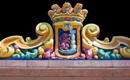 Badajoz city shield on ceramic pieces Royalty Free Stock Photos