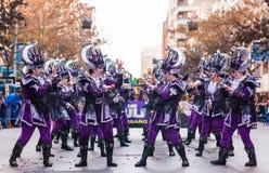 Badajoz, España - 24 de febrero de 2017: Niños que participan en el desfile de carnaval del ` s de los niños en Badajoz Fotografía de archivo libre de regalías