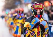 Badajoz, España - 24 de febrero de 2017: Niños que participan en el desfile de carnaval del ` s de los niños en Badajoz Fotos de archivo libres de regalías