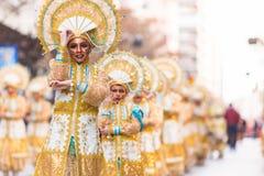 Badajoz, Espagne - 24 février 2017 : Enfants participant au défilé de carnaval du ` s d'enfants à Badajoz Images libres de droits