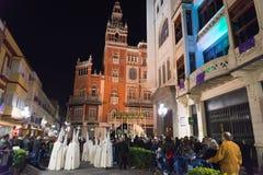 Badajoz Hiszpania, Marzec, - 25, 2016: Wielkanocny tydzień Semana Santa, Naz Fotografia Stock
