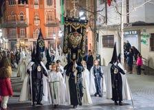 Badajoz Hiszpania, Marzec, - 25, 2016: Wielkanocny tydzień Semana Santa, Naz Fotografia Royalty Free