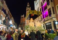 Badajoz Hiszpania, Marzec, - 25, 2016: Wielkanocny tydzień Semana Santa, Naz Obrazy Stock