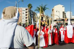 Badajoz, Hiszpania, Niedziela fartuch 9 2017 braterstwo i Brotherho zdjęcia stock
