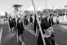 Badajoz, Hiszpania, Niedziela fartuch 9 2017 Korowód Nazarenes zdjęcie stock