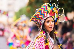 Badajoz, Hiszpania, Niedziela odchodowy 26 2017 uczestników w colorf obrazy royalty free