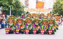 Badajoz, Hiszpania, Niedziela odchodowy 26 2017 uczestników w kolorowych kostiumach brali udział w karnawałowej paradzie w Badajo Zdjęcie Royalty Free