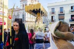 Badajoz Hiszpania Poniedziałek fartuch 16 2017 Bractwo i Brotherho zdjęcia royalty free