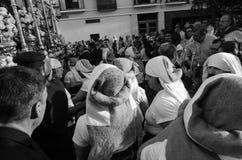 Badajoz Hiszpania Poniedziałek fartuch 16 2017 Bractwo i Brotherho zdjęcie stock