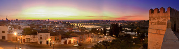 Badajoz panoramic view at sunset Royalty Free Stock Images