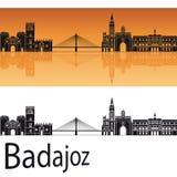 Badajoz-Skyline im orange Hintergrund Lizenzfreies Stockfoto