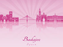 Badajoz skyline in purple radiant orchid Stock Photos