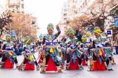 Badajoz, Spagna - 24 febbraio 2017: Bambini che partecipano alla parata di carnevale del ` s dei bambini a Badajoz Fotografia Stock
