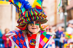 Badajoz, Spagna - 24 febbraio 2017: Bambini che partecipano alla parata di carnevale del ` s dei bambini a Badajoz Immagine Stock