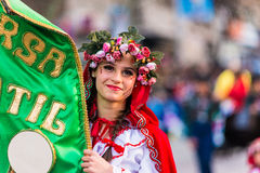 Badajoz, Spagna - 24 febbraio 2017: Bambini che partecipano alla parata di carnevale del ` s dei bambini a Badajoz Immagine Stock Libera da Diritti