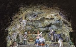 Christmas Nativity scene in a cave. Badajoz, Spain - December 2017: Christmas Nativity scene in a cave. Built by Local Association of Friends of Cribs of Badajoz stock photo