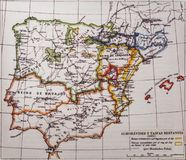 Iberian Peninsula 1091 map by Menendez Pidal. Taifas Kingdoms and Almoravids. Badajoz, Spain - Dic 19th, 2018: Iberian Peninsula 1091 map by Menendez Pidal stock photo