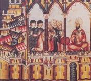 Moorish Almohad court at Cantigas de Santa Maria book. Badajoz, Spain - Dic 19th, 2018: Miniature depicting muslim court, belonged to Book Cantigas de Santa stock images