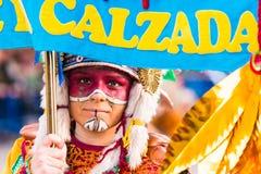 Badajoz, Spain - February 24, 2017: Kids participating in the children`s carnival parade in Badajoz. Stock Images