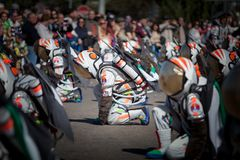 Astronauts in Carnival. Badajoz, Spain - March 2, 2019: Performers with costumes inspired in Astronauts fantasy take part in the Carnival parade of comparsas at stock photo